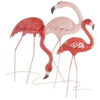 3 Pink Tropical Flamingo`s Wall Art
