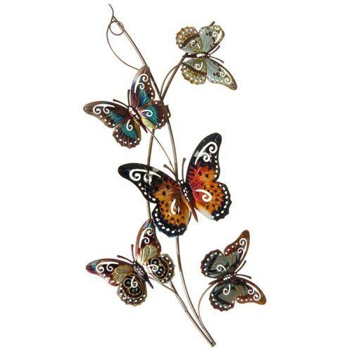 Colourful 5 Butterflies Branch Wall Art