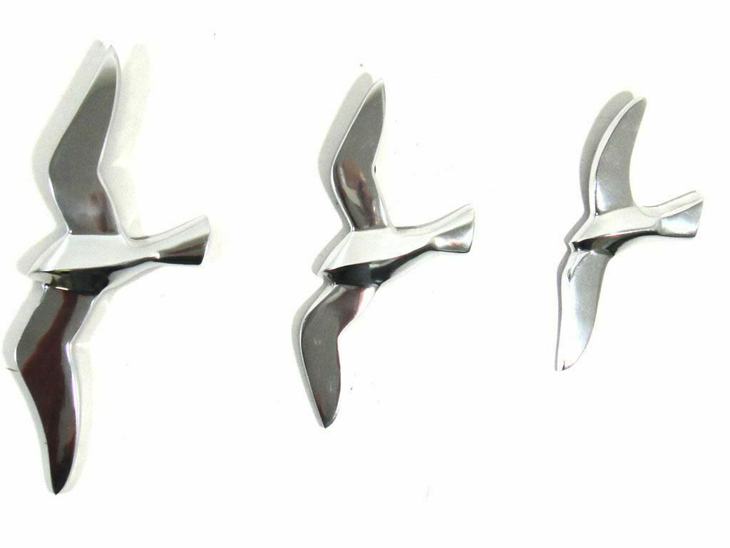 3 Aluminium Flying Seagulls Wall Art