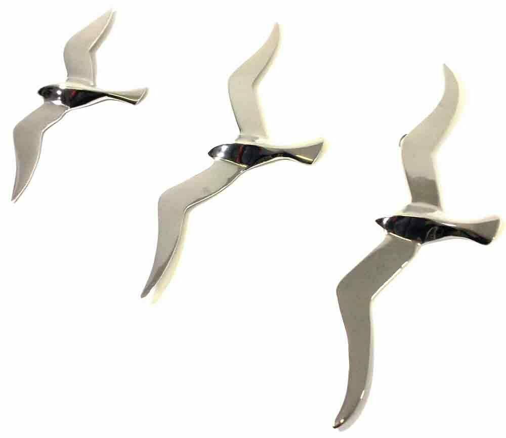 3 Large Aluminium Flying Seagulls Wall Art
