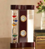 Galileo Thermometer Storm Glass Weather Station With Clock and Hygrometer