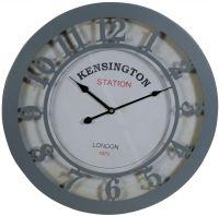 Kensington Station Grey Metal Round Wall Clock