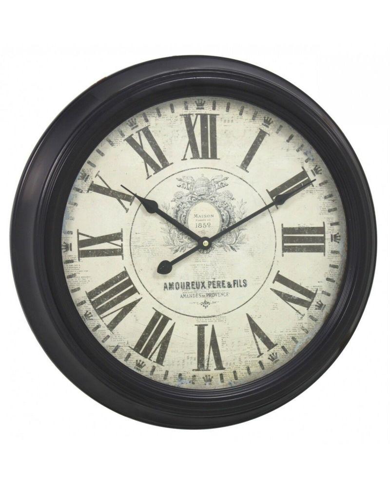 Large Brown Vintage Metal Framed Chunky Wall Clock