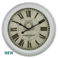 Large Ivory Vintage Metal Framed Chunky Wall Clock