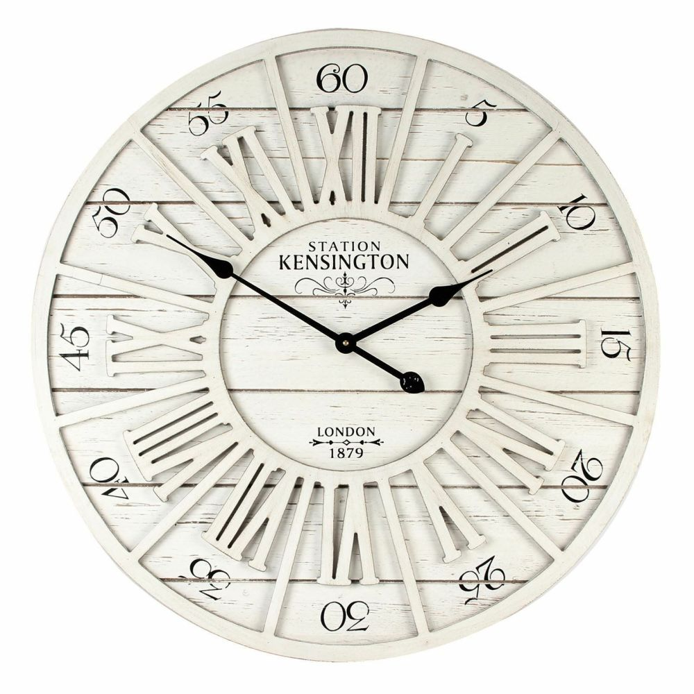 Large Round Cut Out Effect Whitewash Wall Clock