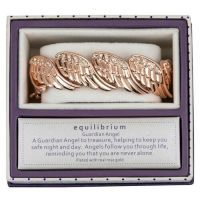 Equilibrium Rose Gold Plated Diamante Angel Wings Bangle