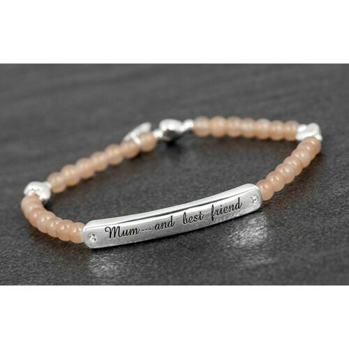 Equilibrium Beaded Silver Plated Message Bracelet Mum