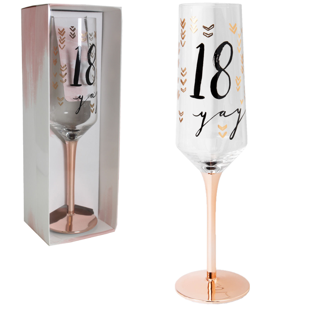 Luxe Rose Gold 18th Birthday Champagne Flute