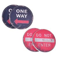 Set of 4 Road Sign Round Coasters