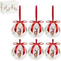 Box of 6 Traditional Winter Stag Baubles