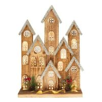 Large LED Lit Rustic Wooden Festive Village Christmas Scene