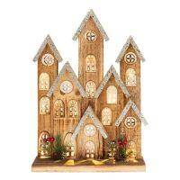 Large LED Lit Rustic Wooden Festive Village Christmas Scene