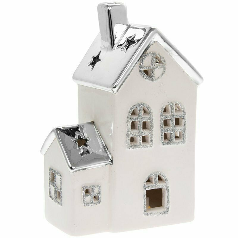 White And Silver LED Christmas Festive Glitter House