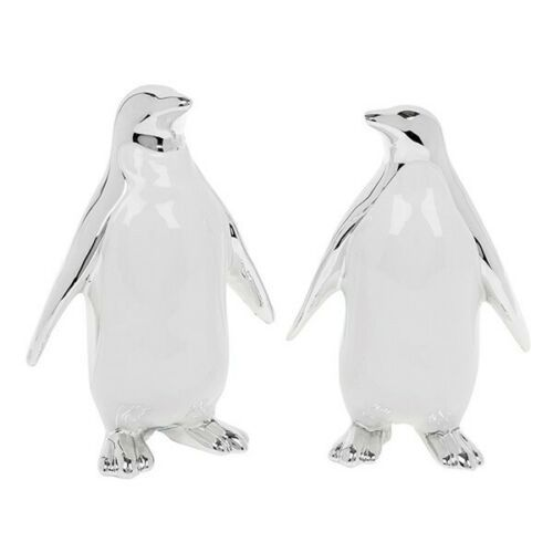 Pair of Cute White And Silver Art Deco Penguins