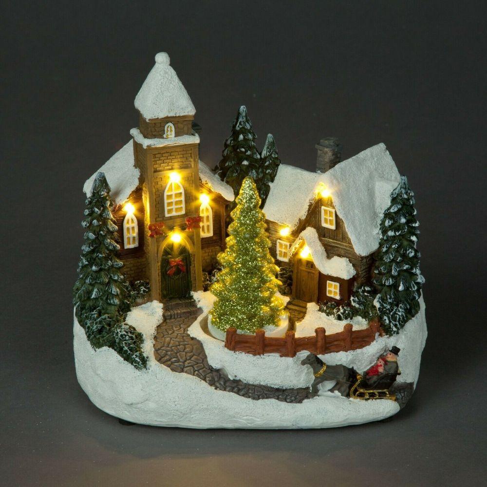 Christmas Church Scene with Rotating Tree & Lights
