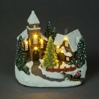 Christmas Church Scene with Rotating Tree & Lights