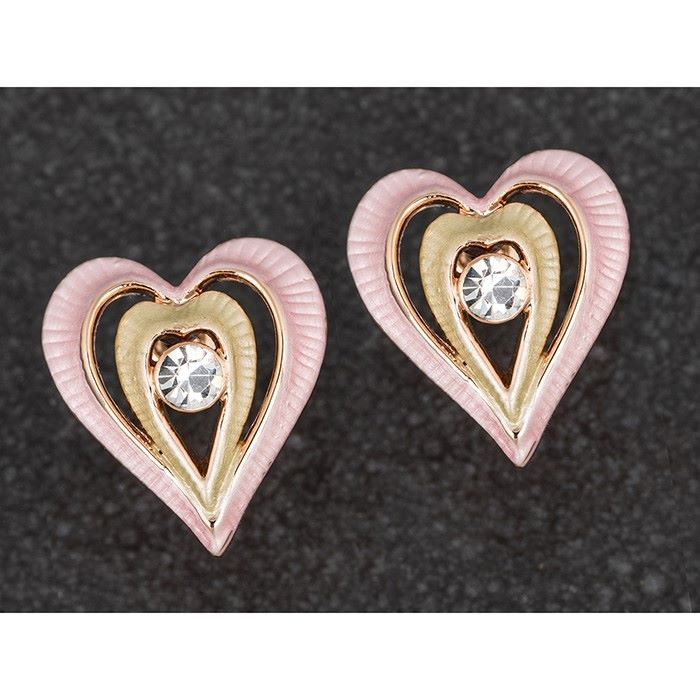 Equilibrium Muted Tones Pink & Gold Heart Earrings