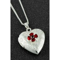 Equilibrium Silver Plated Poppy Heart Locket Necklace