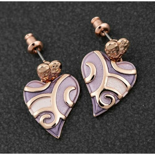 Equilibrium Heather Tones Swirly Heart Earrings