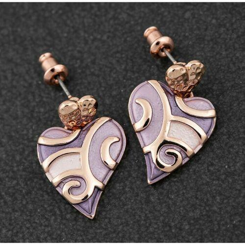 Equilibrium Heather Tones Swirly Heart Earrings