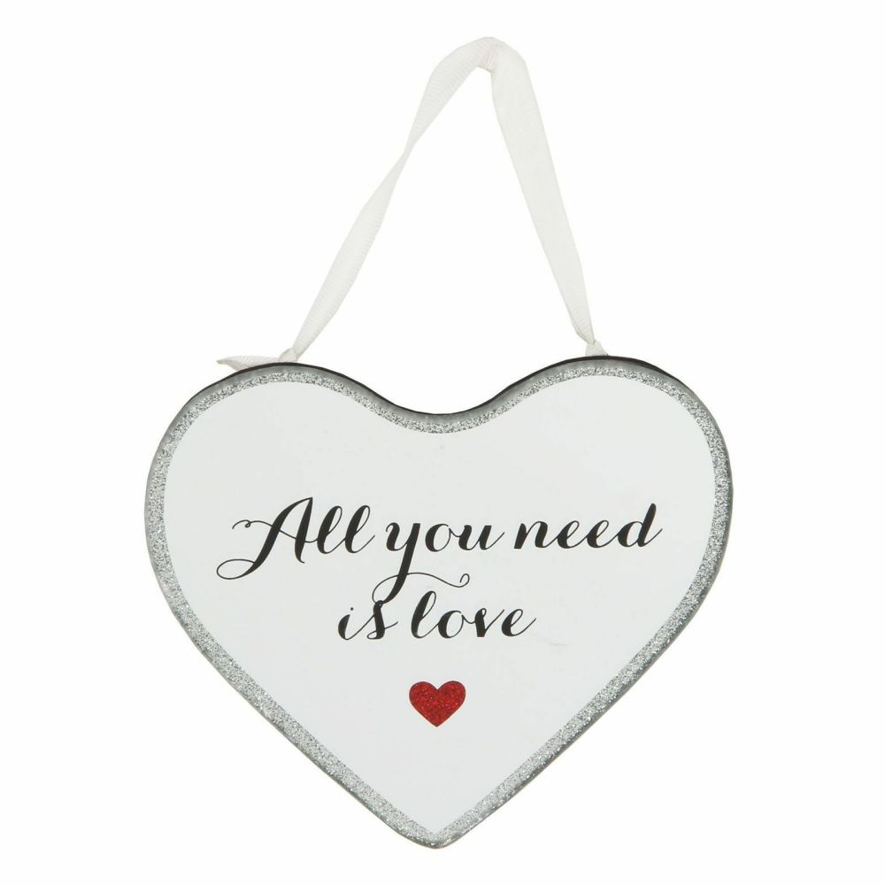 Hanging Mirrored Glitter Heart Plaque -All You Need Is Love