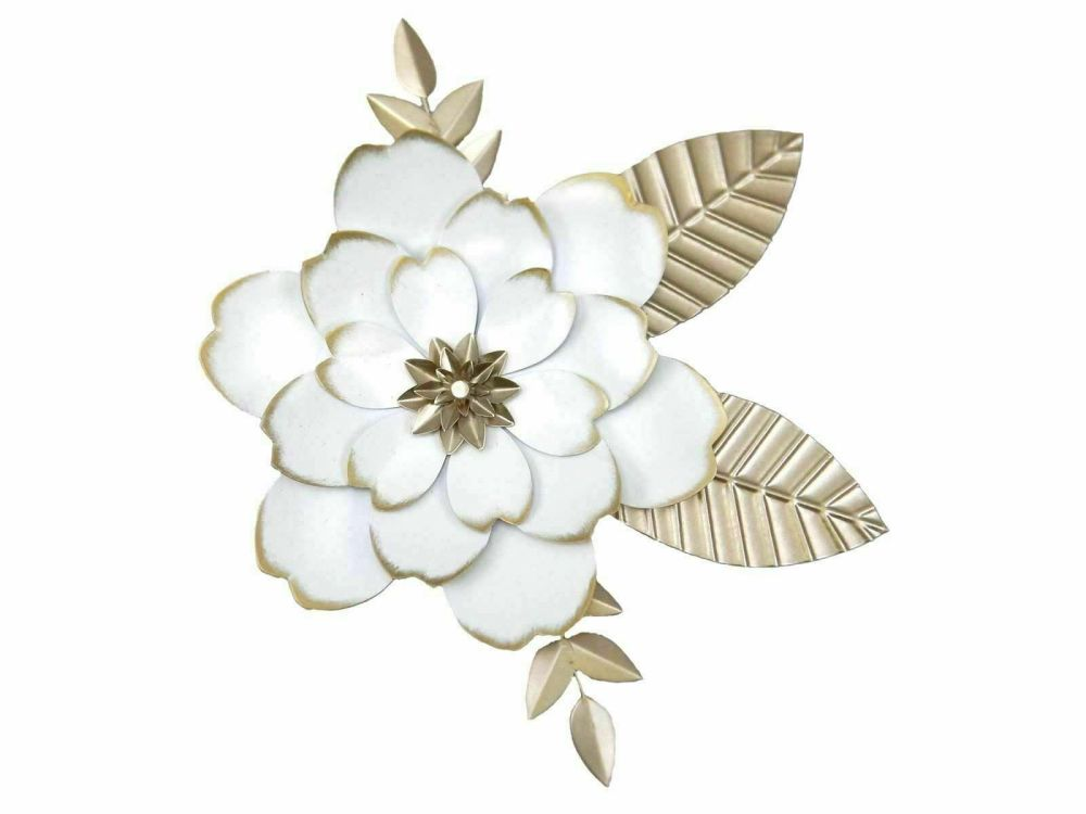 Metal Wall Art Decor Picture - Shabby Chic White / Gold Flower