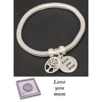 Equilibrium Silver Plated Bangle Mum Tree of Life Bracelet