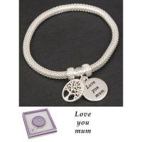 Equilibrium Silver Plated Bangle Mum Tree of Life Bracelet