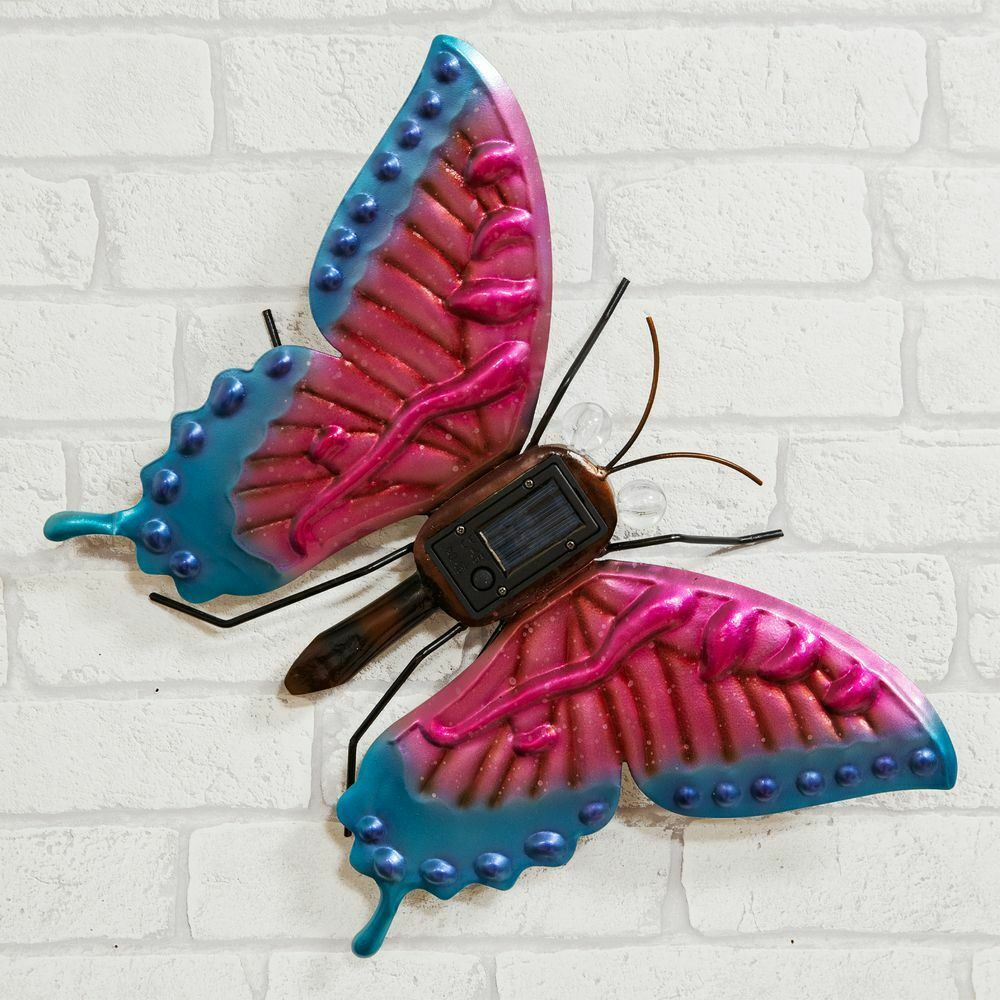 Metal Butterfly Solar Light Wall Art