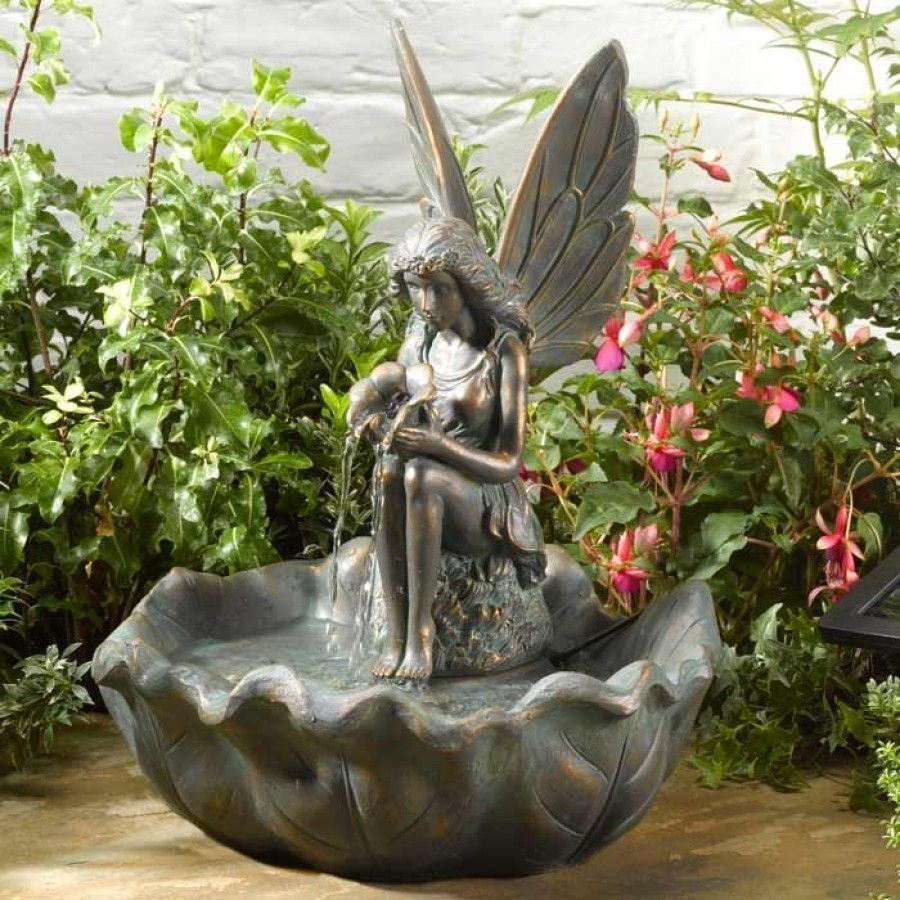 Solar Powered Bronze Effect Fairy Cascade Fountain Outdoor Water Feature