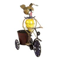 Solar Powered Light Up Funky Dog On Tricycle Planter Garden Lights Decor