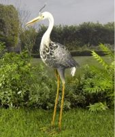 Solar Powered Heron Metal Garden Animal Pond Lawn Colour Changing Lights Decor