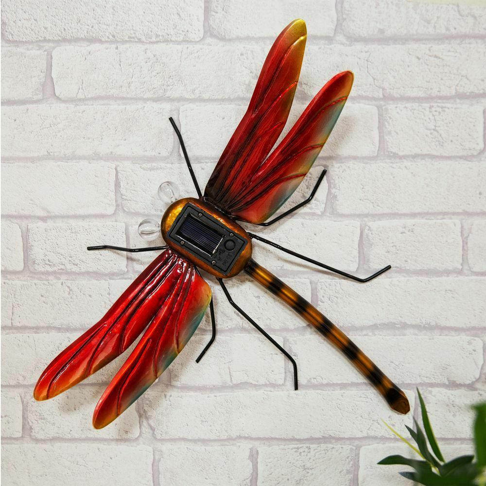 Metal Dragonfly Solar Light Wall Art