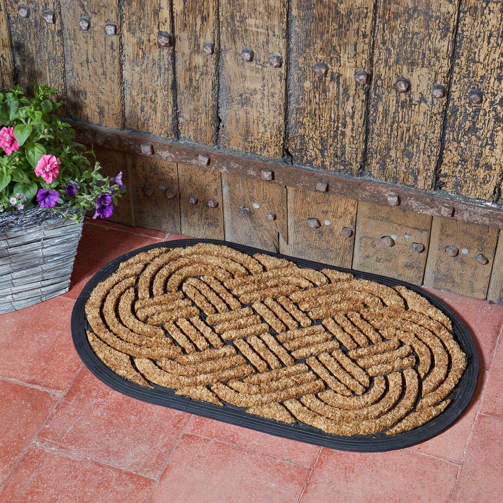 Heavy Duty Celtic Knot Oval Natural Coir Rubber Doormat Indoor Outdoor 75x45cm