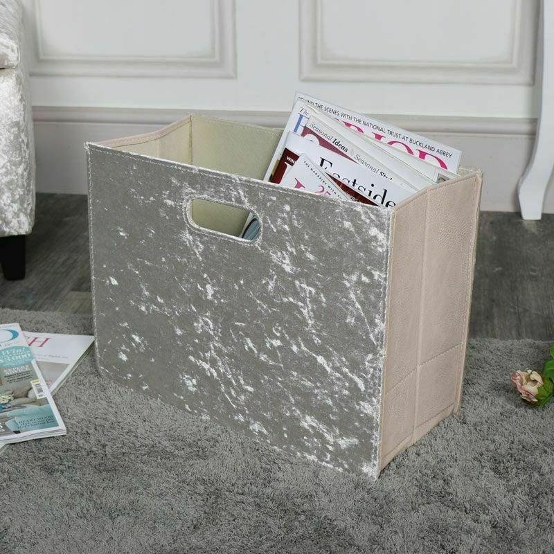Champagne Crushed Velvet Magazine Holder