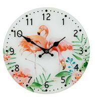 30cm Round Flamingo Glass Wall Clock 2 Pink Flamingos Tropical Decor