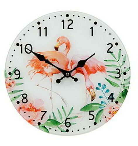 30cm Round Flamingo Glass Wall Clock 2 Pink Flamingos Tropical Decor