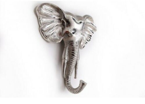 Silver Elephant Coat Hook Wall Decor Aluminium Hall Bathroom Bedroom Tidy