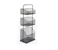 Black Wire Mesh Freestanding Shelving Unit Basket Kitchen Bathroom Storage Tidy