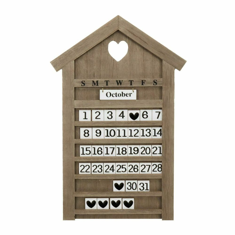 Large Shabby Chic Wooden House Heart Letter Board Perpetual Calendar