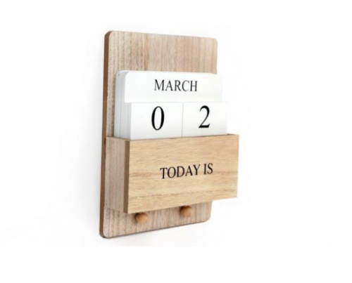 Wooden Block Perpetual Calendar with Hooks