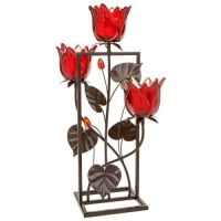 Soft Glow Red Triple Tulip Tealight Candle Holder