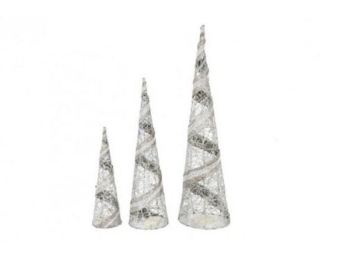 Set of 3 LED Silver Ribbon Cone Christmas Trees