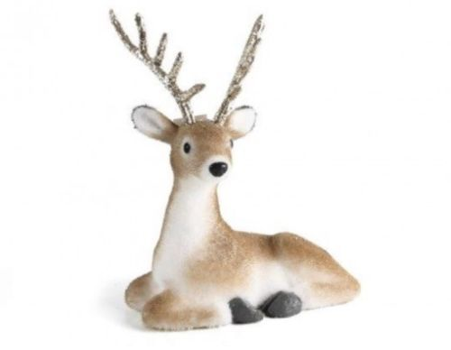Sitting Gold Reindeer with Glitter Antlers