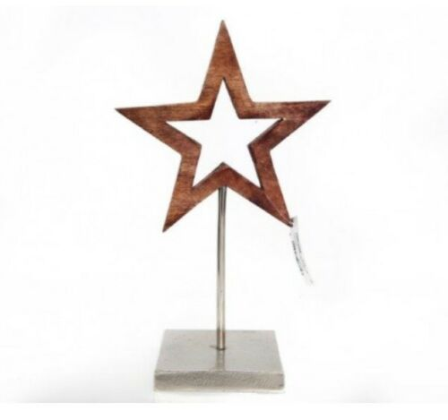 Mango Wooden Star on an Iron Base Rustic Christmas Decoration Xmas