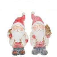 Cute Pair Of Snowy Standing Santa Figures