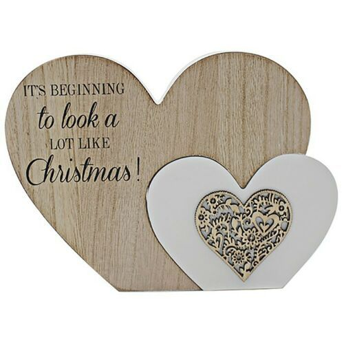 "Christmas Double Twin Heart Table Decoration ""Beginning to look a lot like.."""