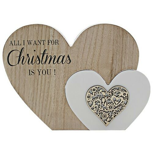 "Christmas Double Twin Heart Table Decoration ""All I want for Christmas is you"""