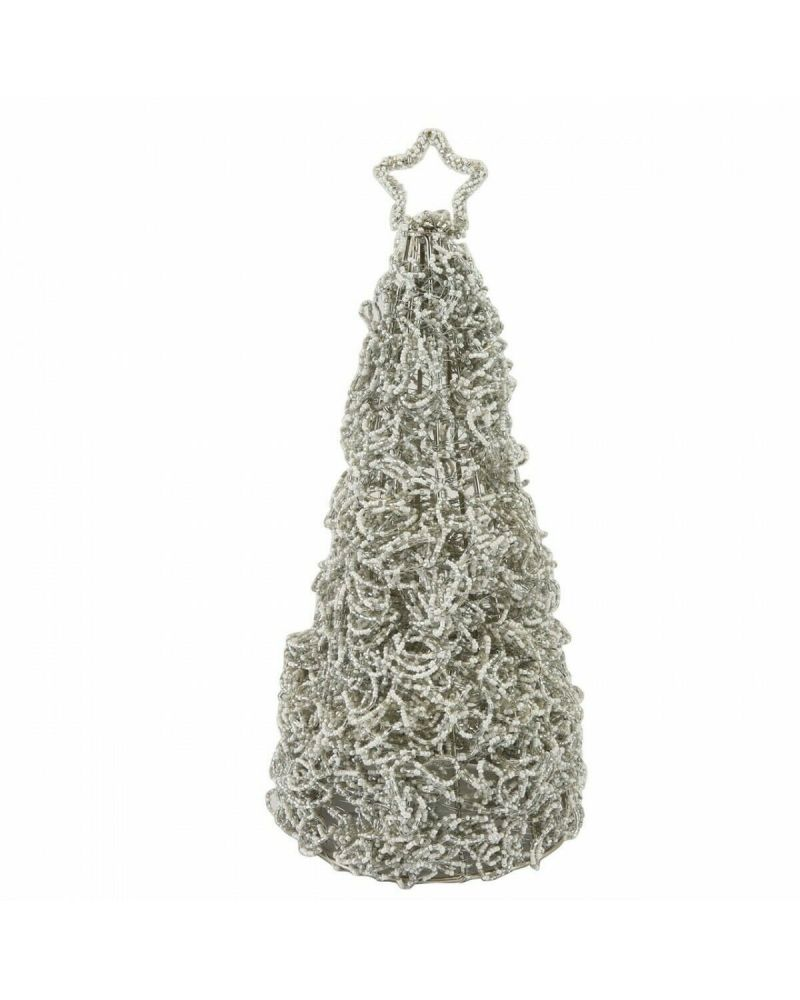 Grey & Cream Beaded Star Topped Table Top Christmas Tree 37 cm