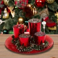 Set of 4 Red Glass Votive Holders on Tray